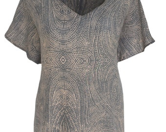 Woman Tunic Top | Batik Tunic Tops | Women's Plus Size Tunic Clothing with Butterfly Sleeve,  Handmade Clothes, One Plus Size XL 1X