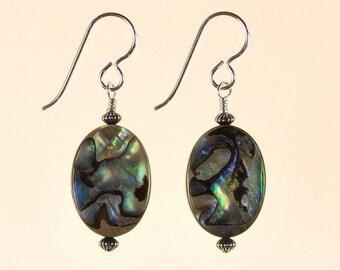 Abalone Paua Shell Drop Earrings Spring Summer Jewelry Birthday Gift for Her Boho Organic Rustic BeachArtisan Rainbow Sterling Silver Dangle