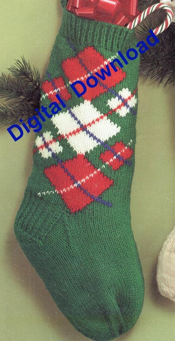 Christmas Stocking Knitting Patterns Vintage : Argyle Knit Christmas Stocking Vintage Christmas Sock