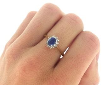 Skinny Blue Sapphire Diamond Halo Ring, Sapphire Engagement Ring, Gold Sapphire & Diamond Ring, Vintage Wedding Jewelry