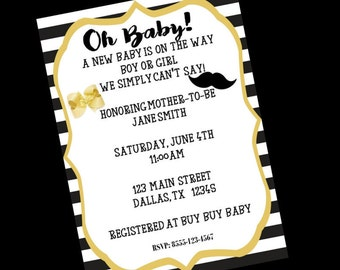 BABY SHOWER INVITATION- Gender Neutral Baby Shower Invitation- printable baby shower invitation- black and gold invitation- oh baby- 5x7