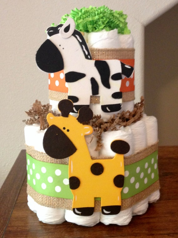 Jungle Themed Baby Gifts Uk : Tier diaper cake safari themed jungle animals