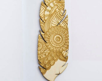 Wooden Mandala Feather Bookmark