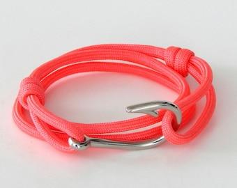 Adjustable fish hook bracelet pink with silver fish hook