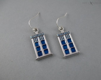 Dr. Who Tardis Earrings - Police Box - Silver Blue Charms