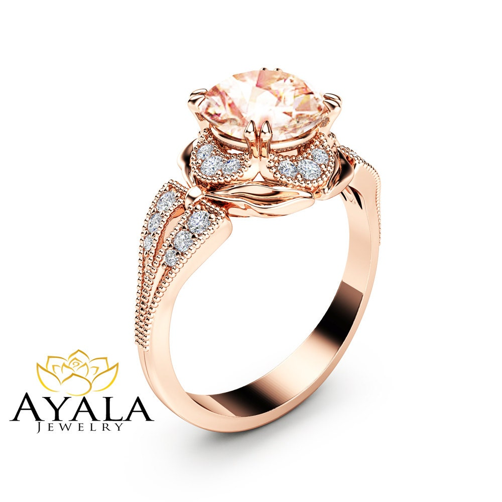 morganite engagement ring unique 14k rose gold ring art deco. Black Bedroom Furniture Sets. Home Design Ideas