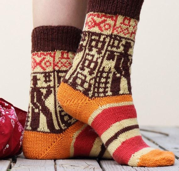 Knitting pattern Boxcar Charlie Socks (Cuff down) fair isle ...