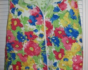 Vest 3X, Cotton Spring Vest,  Norm Thompson Reversible Quilted Cotton Delightful Vest For Spring 3 X