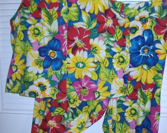 Vintage Adrienne Vittadini Linen Two Piece Floral Summer Outstanding Outfit  12- 14