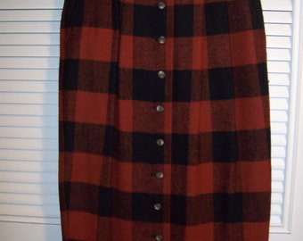 Vintage Cambridge Country Buffalo Check Maxi Wool Skirt Size 4 - 6 see details