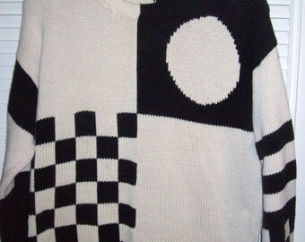 Vintage Carole Little 80's Avant Garde Rock N Roll Checkerboard Black White Sweater Women's Extra Large XL