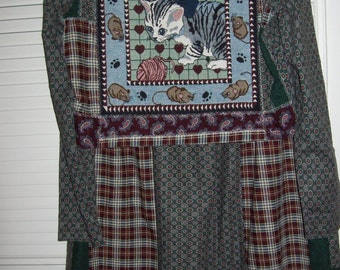 Vintage Prairie Village School Marm Two Piece Cotton Patchwork  Dress For Cat Lovers Everywhere See pictures !BACK SHOWN FIRST