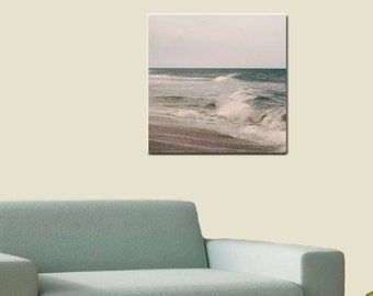 Beach gallery wrap large ocean photography, sea wave canvas print, brown teal coastal decor, nautical artwork 20x20, canvas wrap wall art