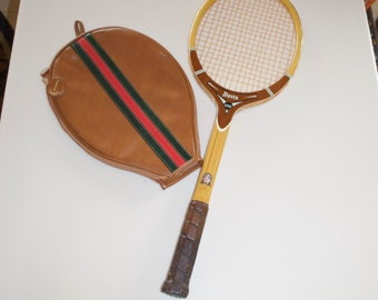 Vintage Tad Davis Hi-Point Wooden Tennis Racke Racquet with Carnaby Cover