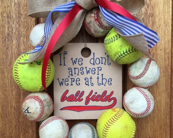 We're at the Baseball Field Baseball/Softball Wreath Blue/Red