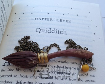 Nimbus 2000 broom, inspired by Harry Potter, necklace