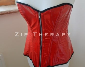 PVC Corset, Red Steel Boned Overbust Corset, Fetish Clothing, Tribute Gift for Mistress