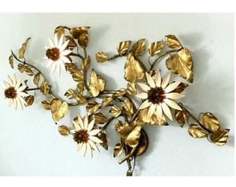 Metal Flowers Wall Art vintage metal wall art | etsy