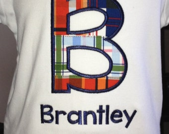Birthday shirt. Birthday number or letter shirt. Plaid. Personalized shirt. Letter with name. Number with name.