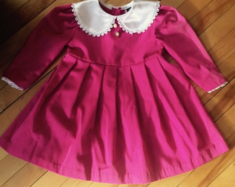 Vintage 1980s Toddler Girl's Pink Pleated Dress! Size 3.