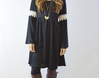 Crochet Bell Sleeve Mini Dress