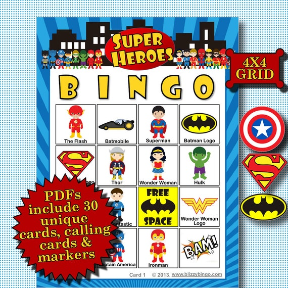 4x4 bingo template - super heroes 4x4 bingo printable pdfs contain everything you