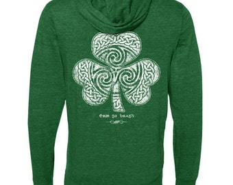 St. Patrick's Day - Ready to Ship - Celtic Clover Shamrock - Green Hoodie Sweatshirt - Men's or Ladies Unisex Sizes - Irish