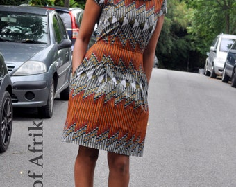 African print high collar dress