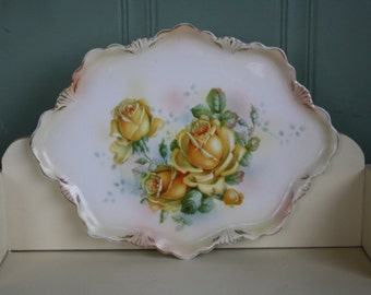 Porcelain Vanity Tray Germany Roses Decorative Plate