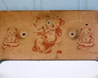 Vintage Childs Drawer Front Featuring Teddy Bear and Kittens Upcycle Repurpose Salvage
