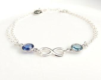 Infinity bracelet Friendship bracelet Infinity birthstone bracelet Personalized bracelet Best friend bracelet Infinity charm Silver infinity