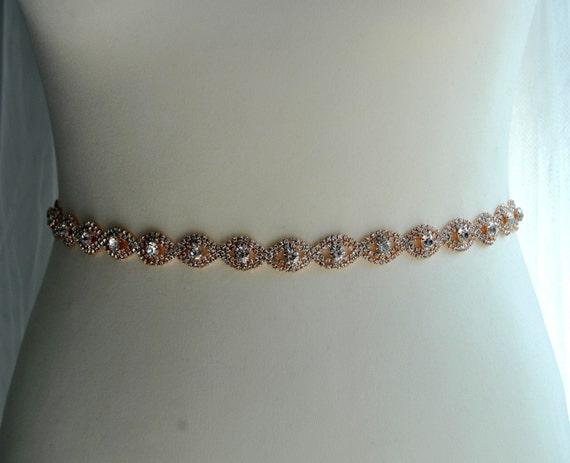Bridal rose gold sash belt rose gold wedding dress gown sash for Gold belt for wedding dress