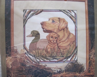 """Cross Stitch Kit  - Golden Lab and Decoy Picture - Something Special Candamar Designs #50721 - 14"""" x 14"""" - NEW NIP - Vintage"""