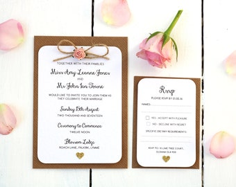 Rustic Rose  and Gold Heart Wedding Invitation Set - Twine Bow