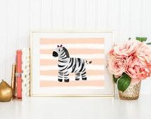 Zebra Nursery Printable Art Print 5x7 and 8x10, Coral Pink Stripes, Peachy Pink, Safari Nursery Print, Animal Baby Shower Gender Neutral