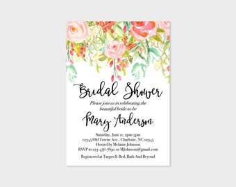 Watercolor Floral Bridal Shower Invitations 5x7, Watercolor Printable Invitation, Bachelorette Party, Bridal Shower Wedding Invite, 5x7