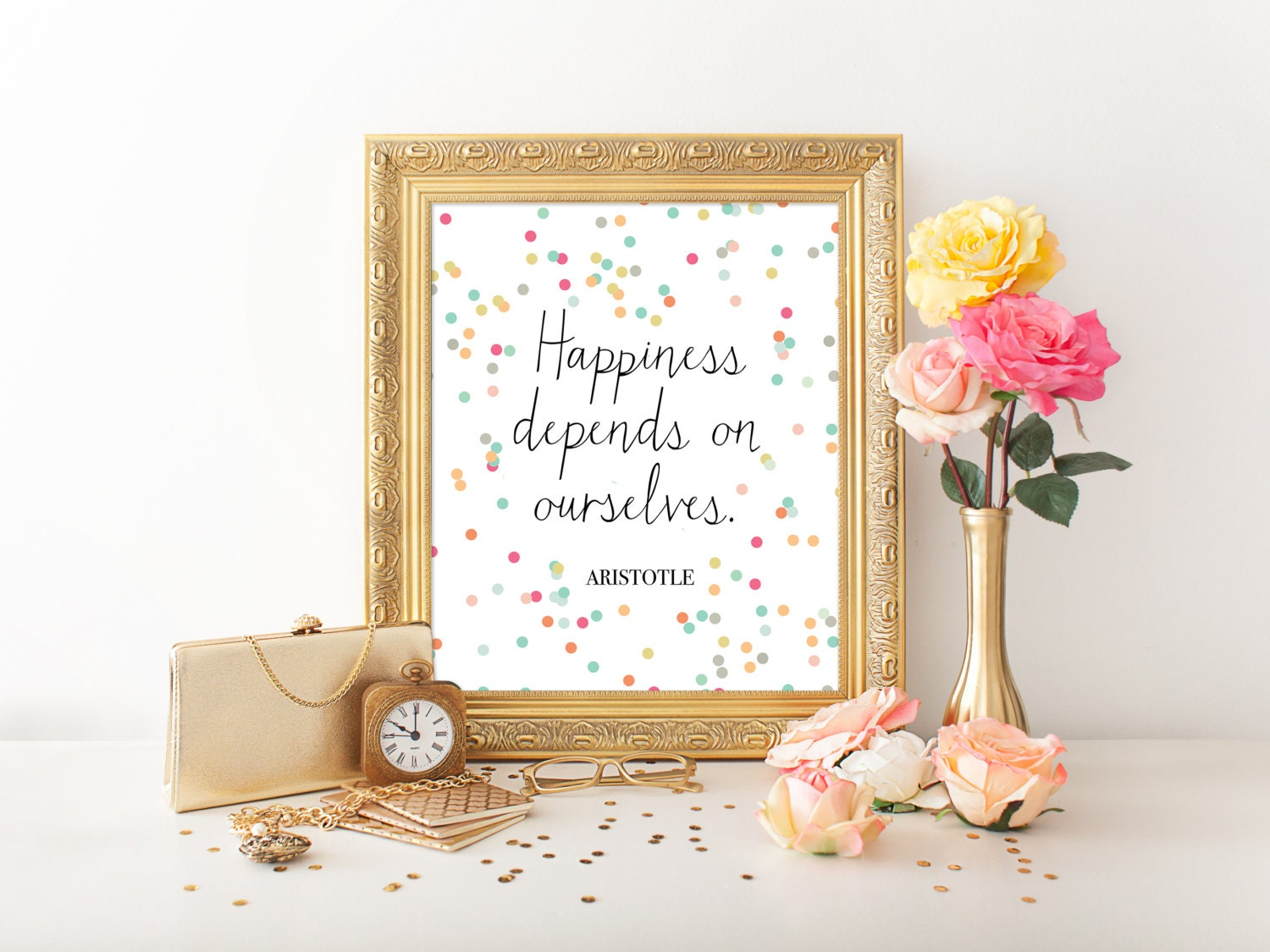 Happiness Depends On Ourselves Aristotle Quote: 8x10 Art Print PRINTABLE Aristotle Quote Happiness Art