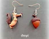 Scrat and Acorn Sub-Zero Heroes Ice Age Jewelry Earrings squirrel handmade cute handmade fimo