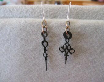 Small Asymmetrical Clock Hand Earrings