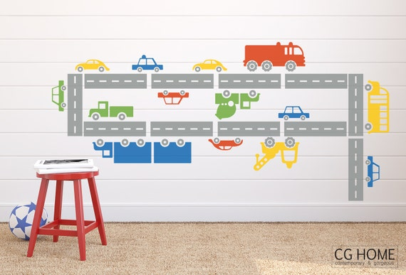 CAR wall decal vinyl stickers living streets customized cars colors NURSERY decoration BOYS room architecture CGhome