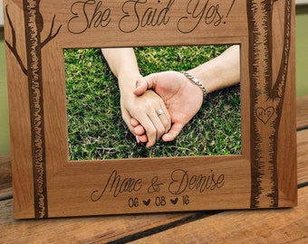 Engagement Frame: She Said Yes Picture Frame, Love Frame, Pesronalized Frame. Personalized picture Frame, Wood Frame Engraved, I Love You