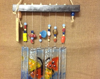 SOLD - Stained Glass Wind Chime and Suncatcher