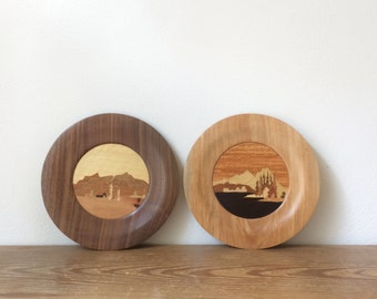 Vintage Wood Plates with Mountains - Handcrafted Wood Plates