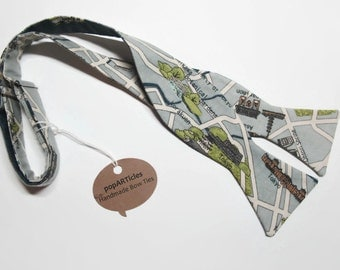 Freestyle Tokyo Map Bow Tie - Cartography Bow Tie - Map Bow Tie - Self-Tie Bow Tie - Japan Bow Tie - Tokyo Bow Tie
