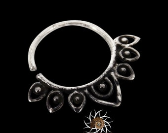 Lotus Oxidized Silver Septum Ring - Septum Jewelry - Septum Piercing - 18G Septum Ring - 16G Septum Ring - Tribal Septum Ring (OS10)