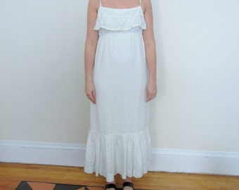 70s Maxi Peasant Dress White Eyelet Vintage Ruffle Tie Straps