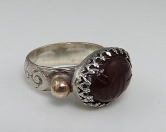 Egyptian Revival Carnelian 14k Sterling Scarab Ring.