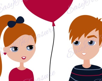 Digital Download Clipart – Valentine Clipart Young Couple with Heart Balloon JPEG and PNG files