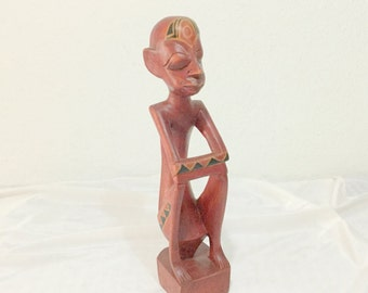 Moai Polynesian red Wood tribal Statue man Sitting Tiki Vintage