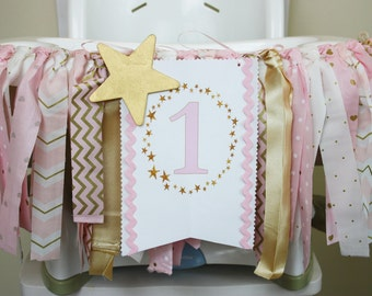 Twinkle Little Star Highchair Banner, Pink and Gold Party, Pink and Gold 1st Birthday girl, Cake smash Photo Prop, Highchair banner